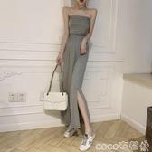 2020夏季新款裙子氣質黑色抹胸連身裙性感一字肩收腰法式顯瘦長裙 618購