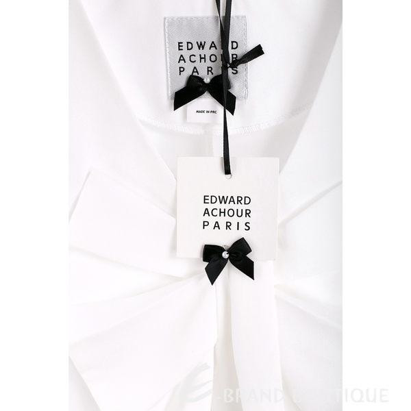 EDWARD ACHOUR PARIS 白色抓褶蝴蝶結飾無袖上衣 1620351-20