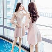 VK旗艦店 韓國風名媛氣質超仙蕾絲花邊鏤空長袖洋裝