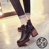 短靴女單靴側拉鏈高跟馬丁靴女圓頭粗跟女靴韓版靴子【黑色地帶】