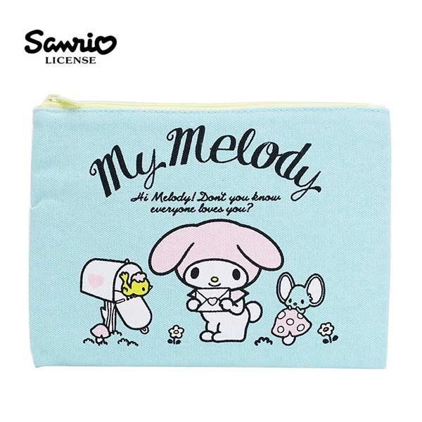 【日本正版】美樂蒂 帆布 扁筆袋 鉛筆盒 筆袋 收納包 My Melody 三麗鷗 - 443863