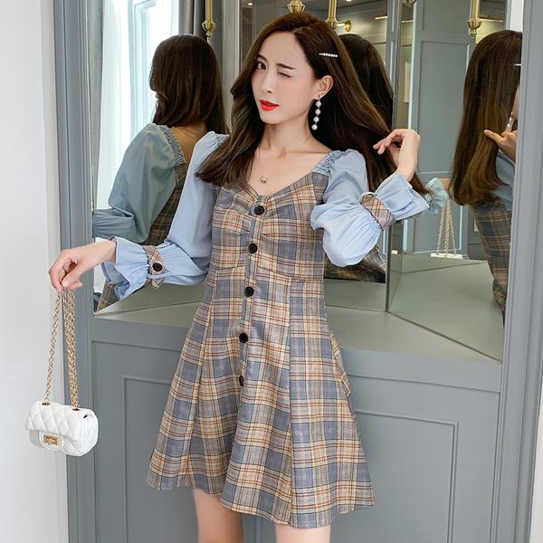 超殺出清 韓國風名媛格紋撞色拼接荷葉邊長袖洋裝