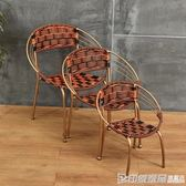 藤椅小滕椅子靠背椅單人家用簡約塑料編織椅子小騰椅竹椅戶外休閒 印象家品旗艦店