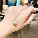 韓國時尚風格項鍊網紅ins高貴典雅珍珠鈦鋼項鍊72657