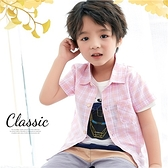 清新彩格棉紗透氣襯衫上衣-2色(310022)【水娃娃時尚童裝】