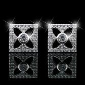 耳環 925純銀 鑲鑽-方形鏤空生日聖誕節交換禮物女飾品2色73hz42【時尚巴黎】
