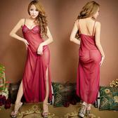 《蘇菲雅誘惑睡衣》柔情優雅.雪纺紗高貴長裙式蕾絲簍空情趣睡衣 (紅)