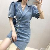 chic時尚夏季韓版氣質洋裝女神范新款修身顯瘦A字牛仔短裙