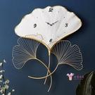 創意時鐘 新中式銀杏葉掛鐘客廳家用輕奢時尚鐘錶個性簡約藝術創意時鐘現代T