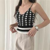 夏季百搭基本款個性格纹針織小可愛上衣 (黑白  黃白  紅白  咖白) 11910052