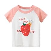 卡通草莓印花短袖上衣 童裝 短袖上衣 上衣