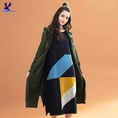 【早秋新品】American Bluedeer - 色塊拼接長版洋裝(魅力價)  秋冬新款
