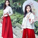名族風 改良漢服女襦裙套裝古裝服裝中國風女裝古風日常裝魚鱗刺繡學生裝