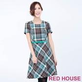 【RED HOUSE 蕾赫斯】毛料編織格子洋裝(綠色)