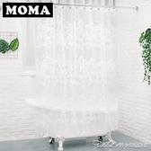 默瑪EVA浴簾防水加厚防霉衛生間浴簾浴簾布隔斷簾淋浴簾白色花蔓 阿卡娜