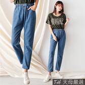 【天母嚴選】單釦鬆緊腰直筒丹寧牛仔褲