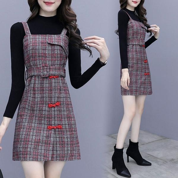 套裝兩件式裙裝 S-2XL 2020年秋冬新款洋氣顯瘦氣質收腰連身裙兩件套 8203 NC11-A 依品國際