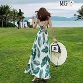 洋裝女 性感 露背 雪紡 吊帶 連身裙 顯瘦 海邊 度假 沙灘裙