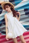 2018夏新款韓國蕾絲連身裙女學生無袖收腰顯瘦高腰娃娃衫連身裙【櫻花本鋪】