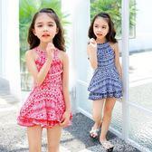 兒童泳裝 兒童連身裙式泳衣女孩公主寶寶小中大童泳裝學生可愛游泳衣 綠光森林