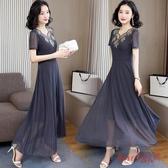 網紗連身裙洋裝女夏裝2020新款時尚修身顯瘦遮肚氣質蕾絲短袖長裙大碼 OO10407【Rose中大尺碼】