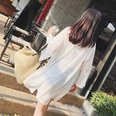 夏季網紗薄外套七分袖泰國度假中長款開衫百搭沙灘服海邊防曬衣女