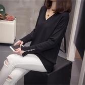 大碼女裝秋冬新款2019V領針織打底衫胖妹妹寬鬆顯瘦遮肚套頭毛衣 韓語空間
