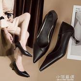 兩穿單鞋潮百搭黑色皮鞋職業工作鞋新款尖頭淺口高跟鞋女細跟『小淇嚴選』