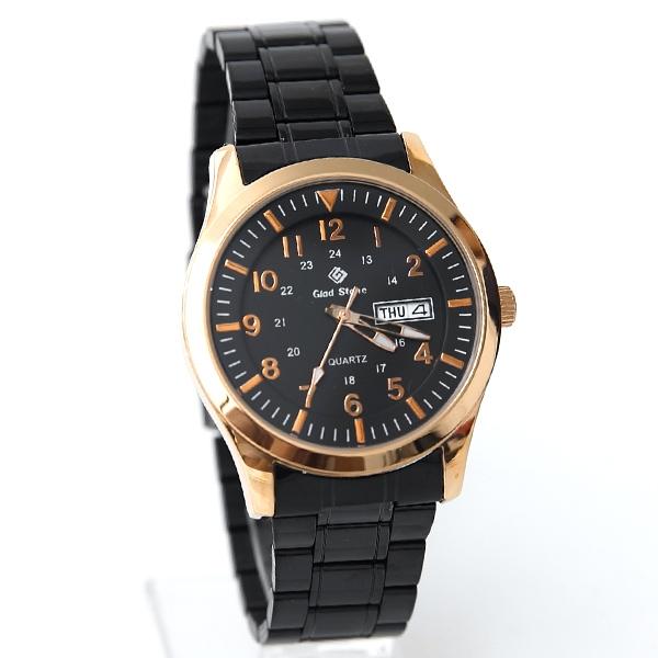 搭載SEIKO機芯黑帶玫金手錶NE2037