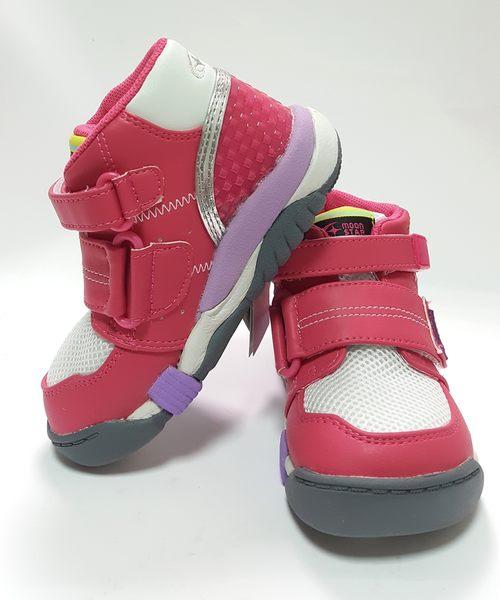 日本月星MOONSTAR  機能高筒矯正鞋 學步鞋《7+1童鞋》B433粉色