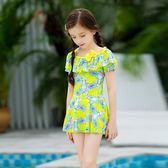 兒童泳衣女孩連體裙式女童泳裝女寶寶韓國中大童公主泡溫泉游泳衣【米拉生活館】