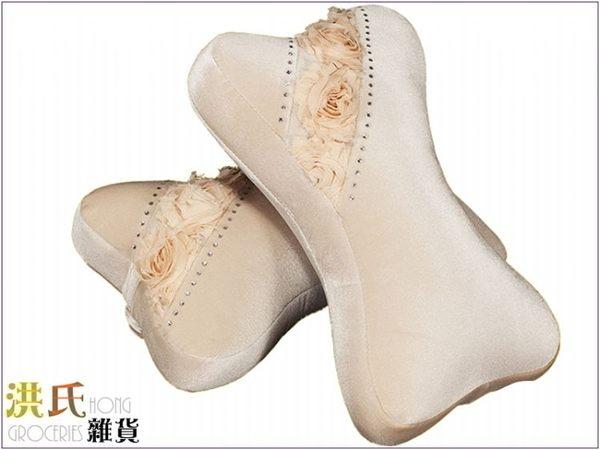 【洪氏雜貨】 270A043 195H 玫瑰系列骨頭枕 米款2入