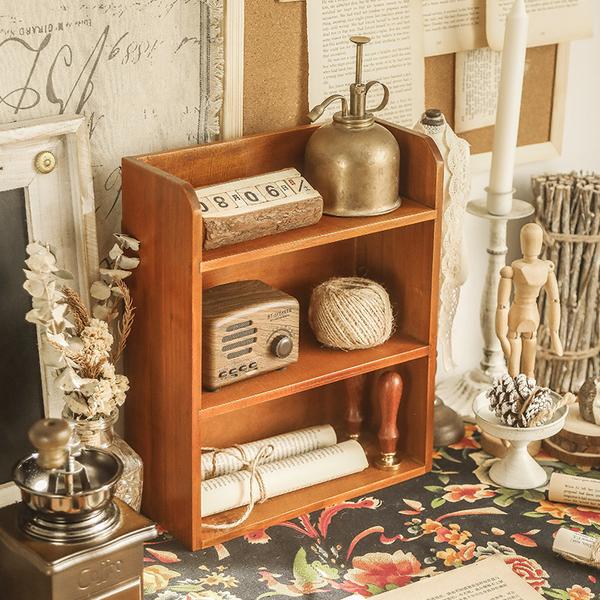 【BlueCat】直立三層 復古仿舊收納實木櫃 木架 木盒 收納櫃 置物架 展示架 櫃子
