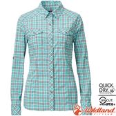 Wildland 荒野 0A81201-67湖水綠 女彈性格子長袖襯衫 抗UV/中層衣/登山休閒服/排汗衫/可當外套