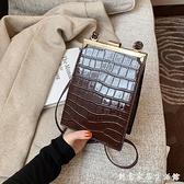鱷魚紋斜背包洋氣單肩包包2021新款潮簡約小包包女冬季時尚手機包 創意家居生活館