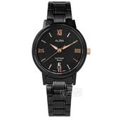 ALBA / VJ22-X324SD.AH7V57X1 / 優雅時尚 羅馬刻度 藍寶石水晶玻璃 日期 不鏽鋼手錶 鍍黑 29mm