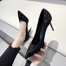 2020春季新款法式少女高跟鞋細跟性感百搭尖頭職業單鞋黑色工作鞋 歐歐