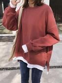 特賣假兩件慵懶風衛衣女秋冬韓版學生寬鬆長袖套頭上衣厚外套