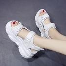增高涼鞋 運動涼鞋女仙女風夏新款歐洲站厚底高跟厚底楔形內增高鬆糕鞋-Ballet朵朵