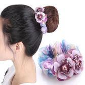 花朵頭繩娟紗發圈盤發丸子頭飾品韓國扎頭發