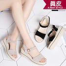 楔型鞋-柔軟美腿神器厚底涼鞋【XD57543】 柔軟透氣鞋墊 修飾楔型款式