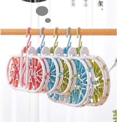 圓盤多夾子曬襪神器晾衣夾嬰兒寶寶衣架宿舍用學生襪子掛鉤內衣架 NMS創意新品