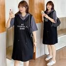 (現貨+預購 FUWAFUWA)--加大尺碼字母刺繡假兩件休閒長T短袖洋裝