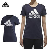 Adidas Logo Tee 女 深藍 銀 短袖上衣 T恤 短T 愛迪達 運動上衣 羅紋圓領 棉T CX5165