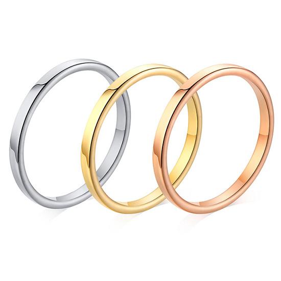 《 QBOX 》FASHION 飾品【RR-487】精緻個性百搭素面單色鈦鋼戒指/戒環(0.2cm)
