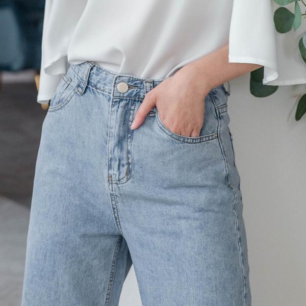 MIUSTAR 春夏涼款!高腰長腿寬直筒不收邊薄款牛仔長褲(共1色,S-XL)【NH1015】預購