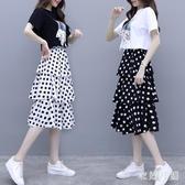 大碼兩件式洋裝 2020新款短袖連身裙夏流行女裝波點a字裙套裝裙 BT23787【衣好月圓】