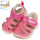 《布布童鞋》BABYVIEW頂級皮質粉色兒童運動護趾涼鞋(14~18公分) [ O8M12BG ]
