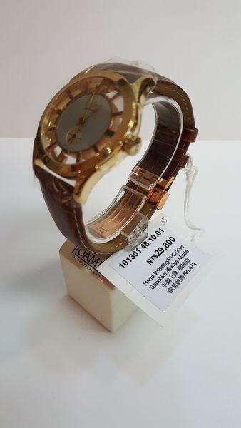 ROAMER-手動上鍊機械錶-簍空金咖啡錶帶No.472