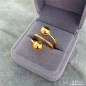 日韓鍍24K黃金色光面磨砂轉運珠戒指男女 久不掉色仿越南沙金指環  深藏blue